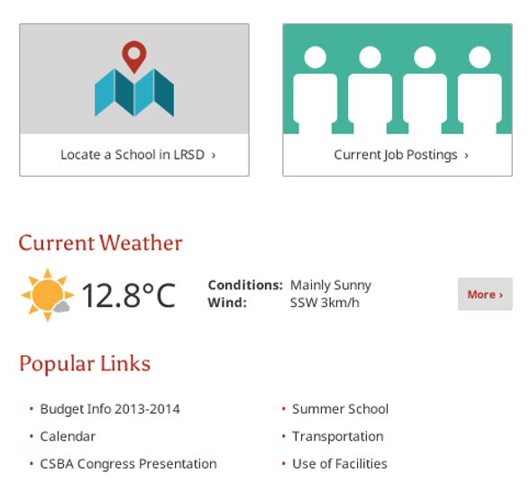 Advertising, Weather Feed and Popular Link Widgets