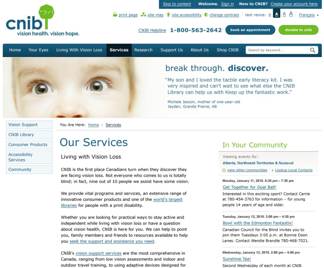 CNIB Landing Page