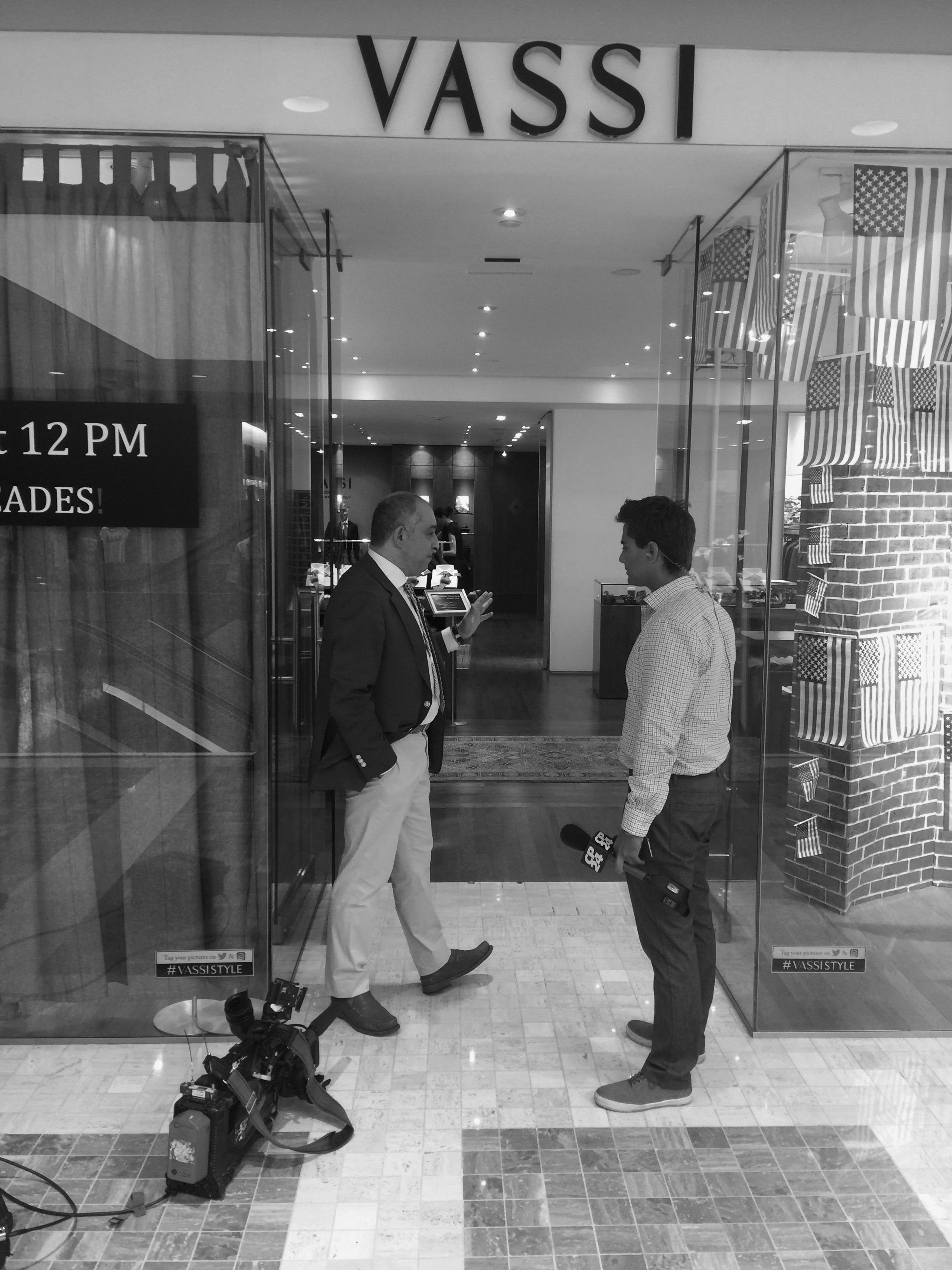 CP24 Live-Eye Reporter Jamie Gutfreund and Andre Vassi of Vassi Menswear discuss The Dump Trump tie between segments