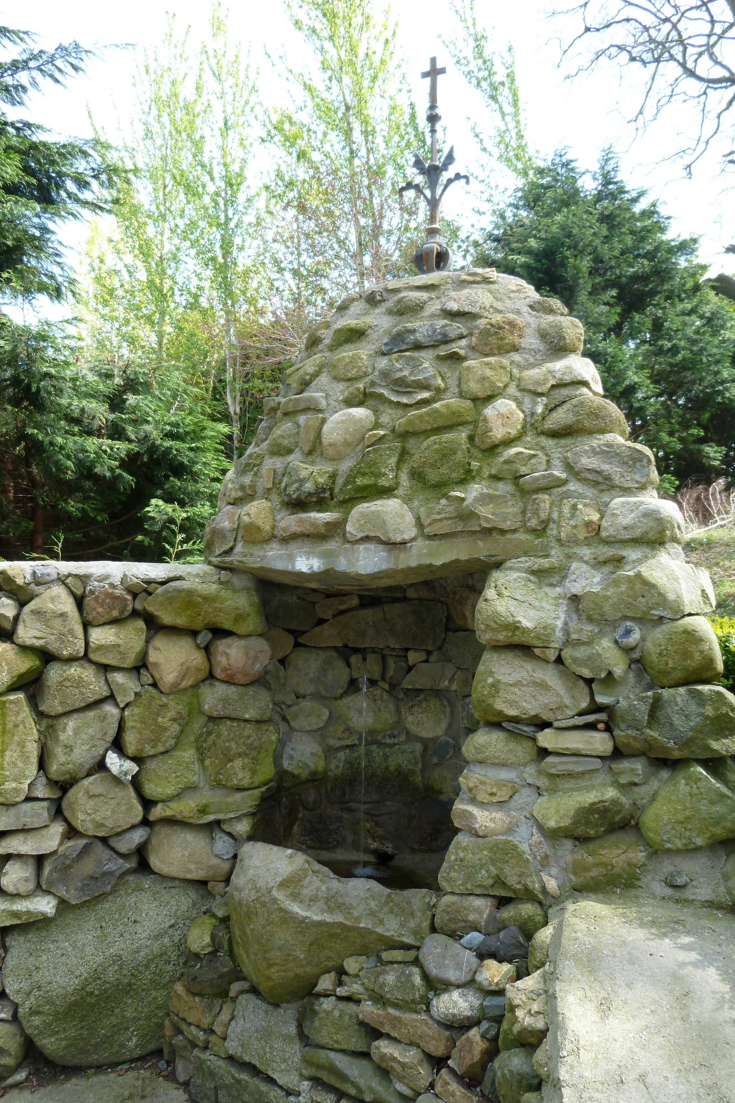 The actual well associated with St. Brigid in Faughart is a little higher up the hill, but this source near her stream is the one that most pilgrims use to gather water to take home.
