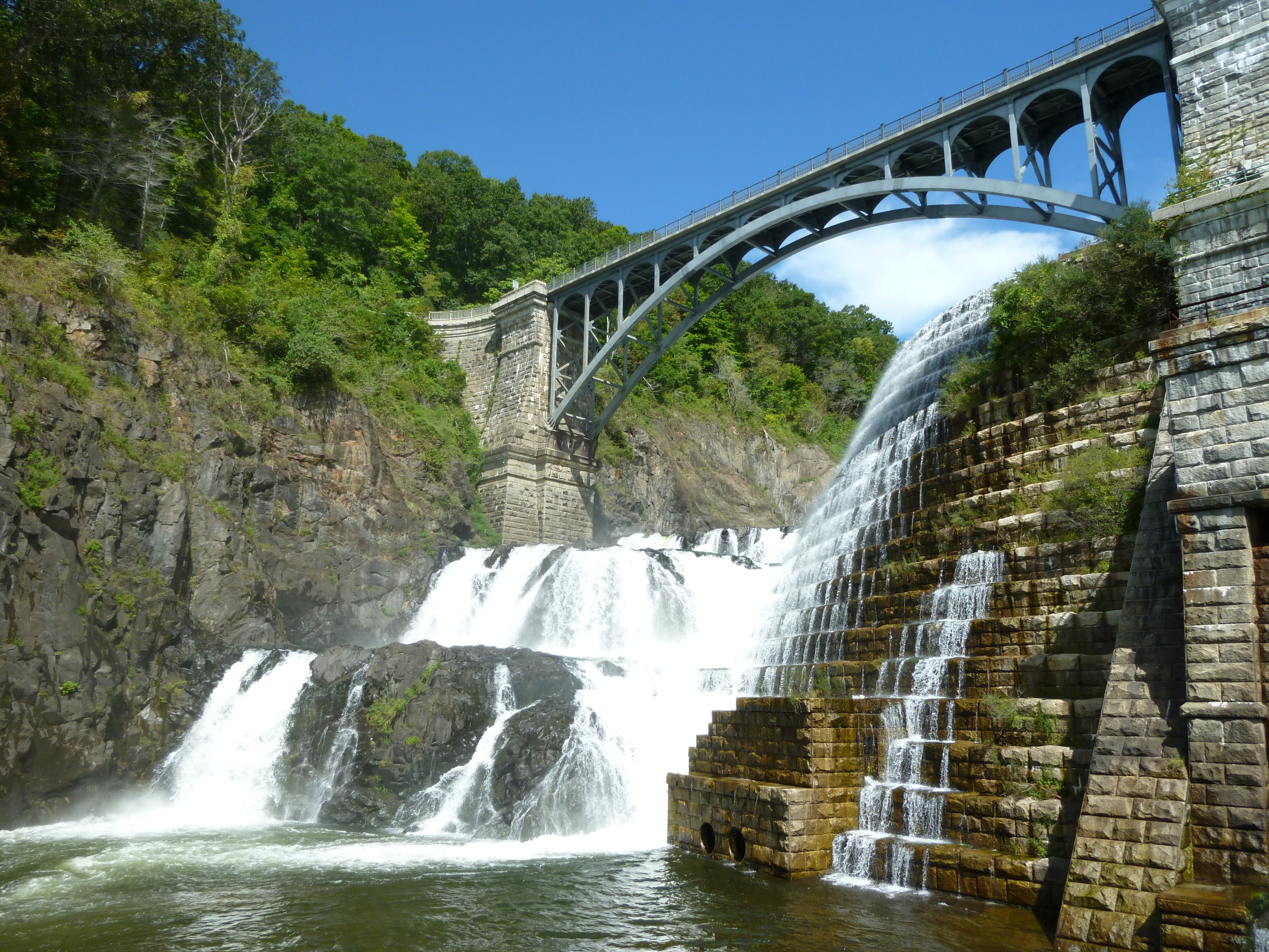 The New Croton Dam in the Hudson Valley of New York combines human ingenuity with the natural beauty of falling water.