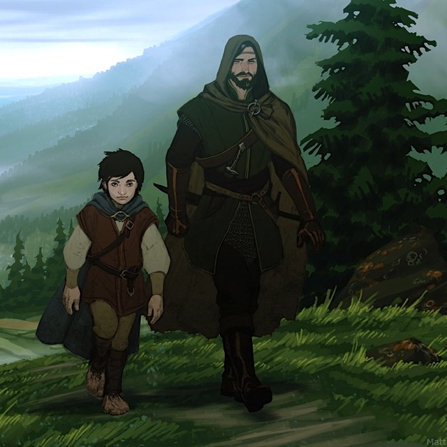 I imagine Patrick and Cailte walking up the hill to Fionn's fort as a mismatched pair like Frodo and Aragorn. This image is by  Matt Rhodes .
