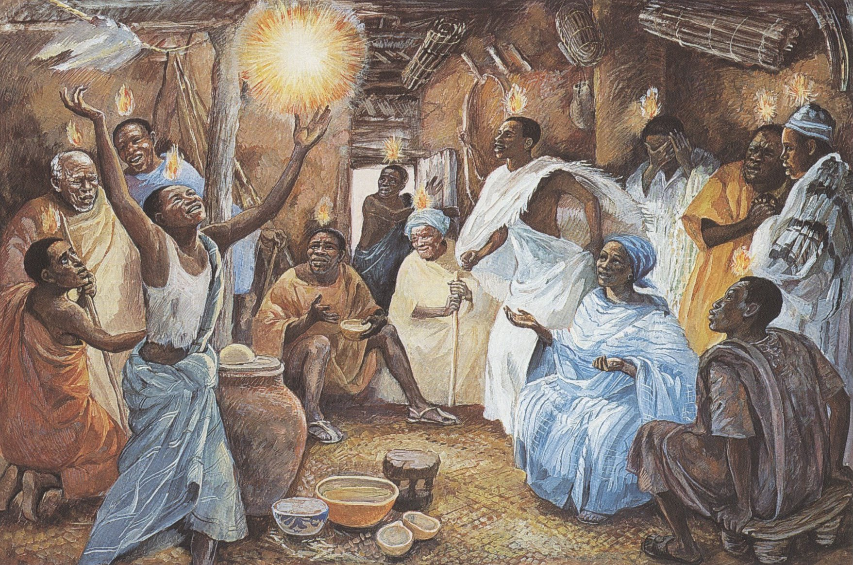 Pentecost depicted by  Jesus Mafa , a community in Cameroon. Used under a  Creative Commons Attribution-NonCommercial-ShareAlike 3.0 license .