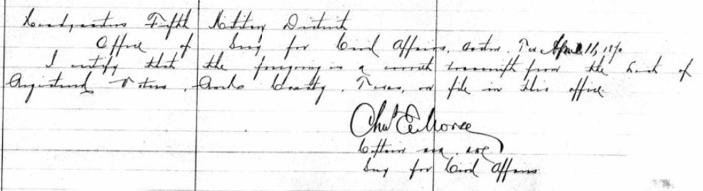 Affidavit by the Army captain who transcribed the Rusk County voter records in 1870