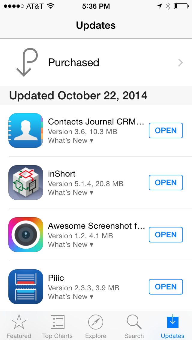 Typical App Store Updates view.
