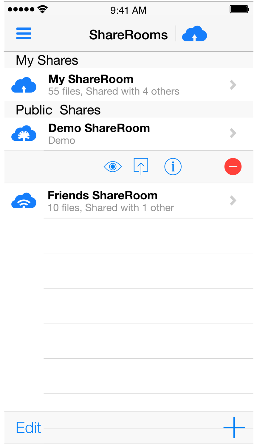 ShareRooms 'Shelf' Contextual Menu