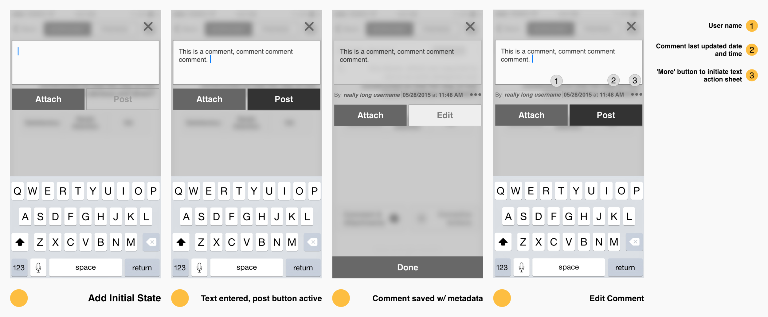 Comment's Wireframe