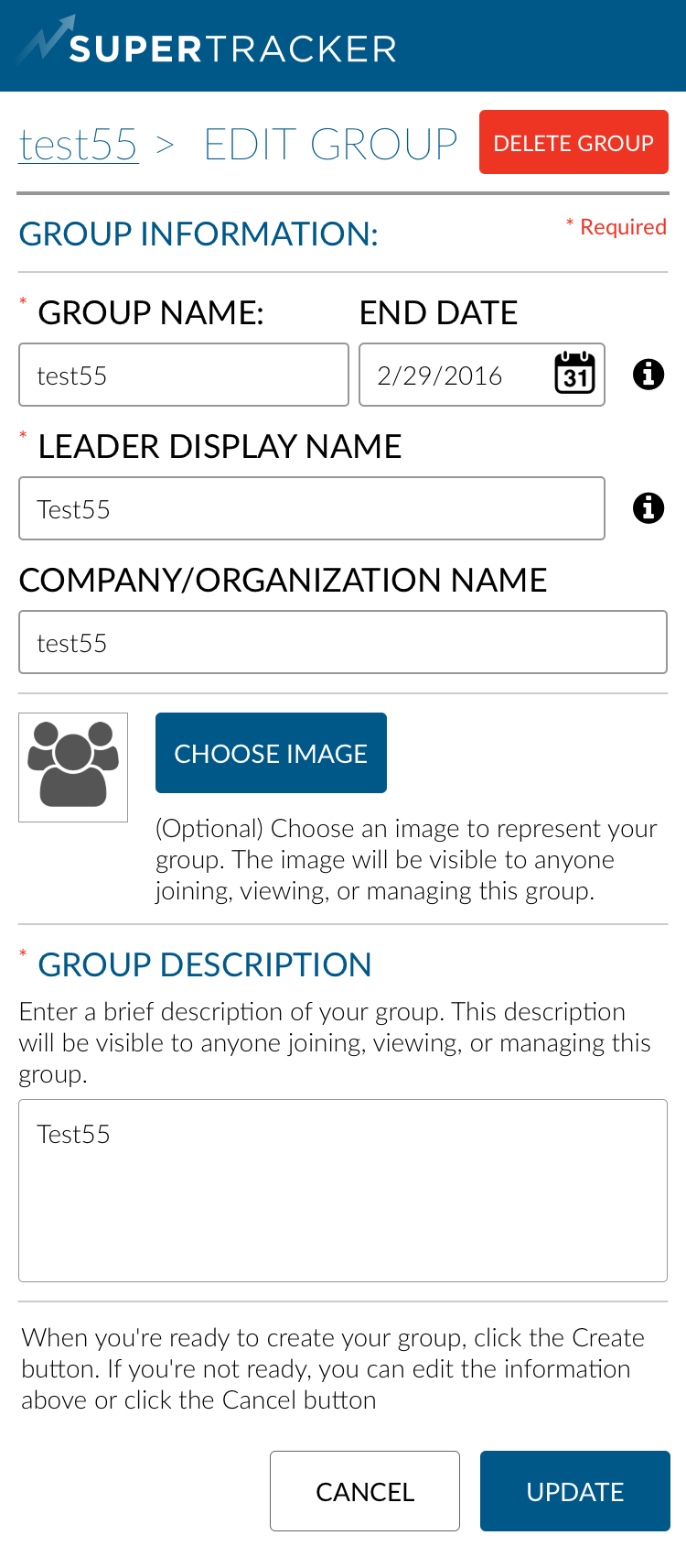 Main Group > Edit Group