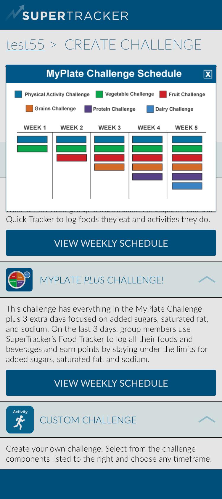 Custom - Create Challenge > View Weekly
