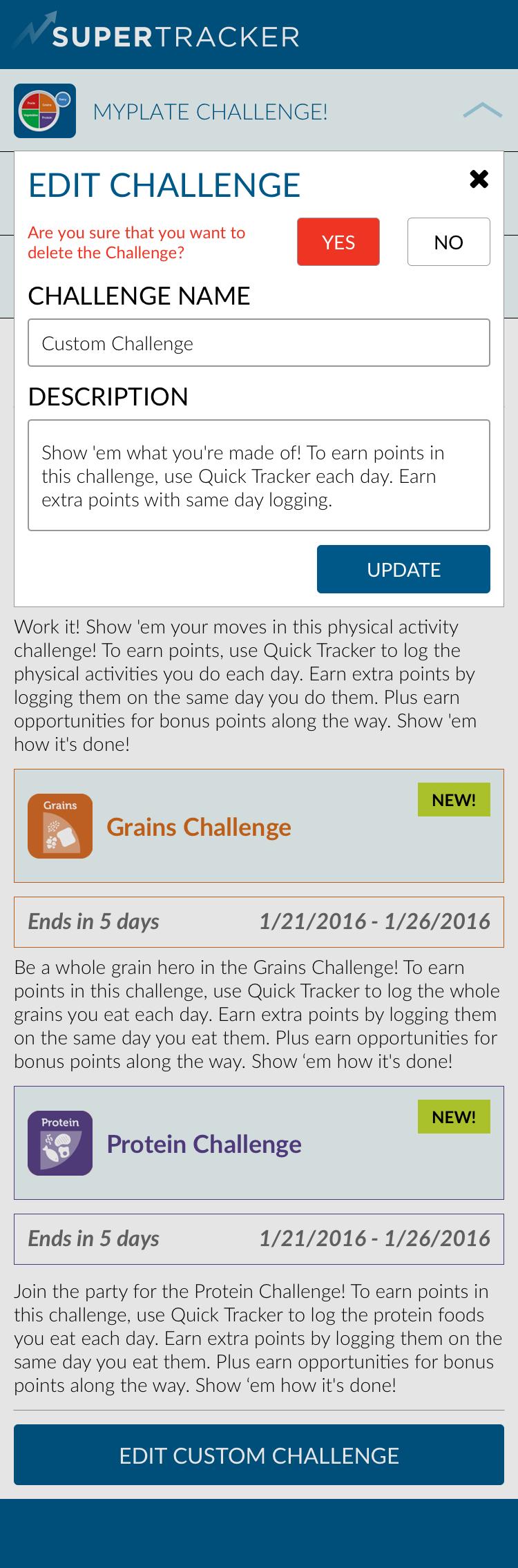 Custom - Main Group > Edit Challenge - Delete