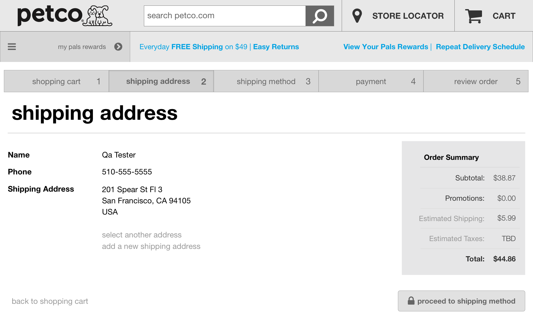 Cart - Shipping Address