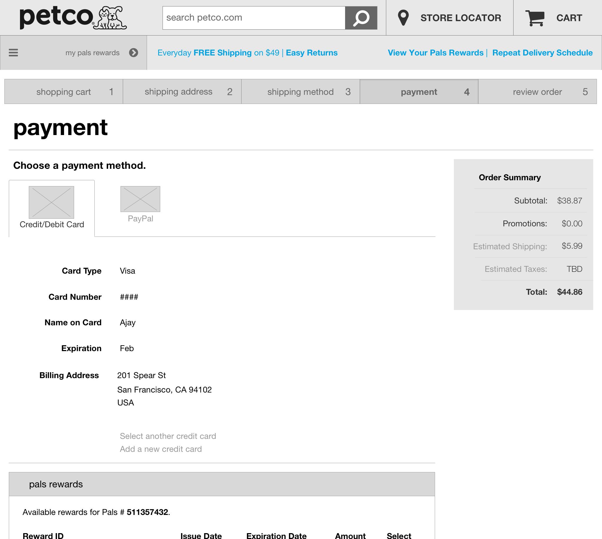 Cart - Payment > Credit Card