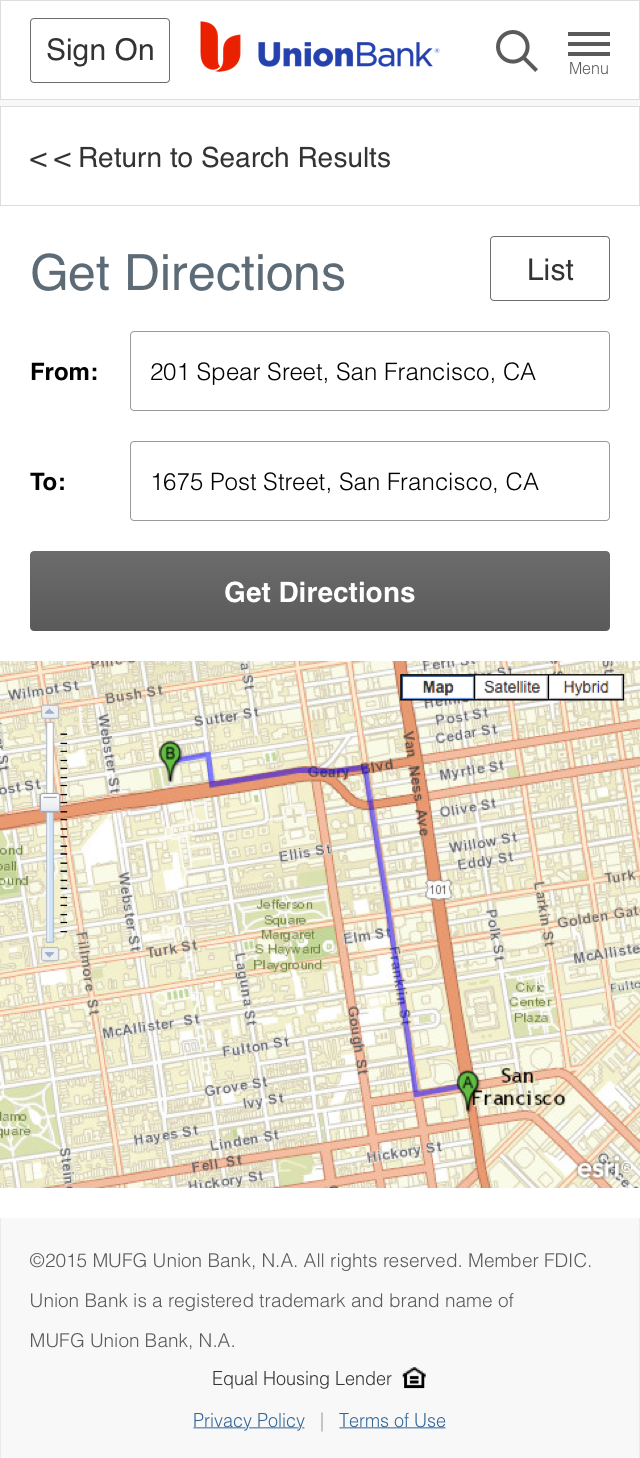 Location - Get Directions - Map Button