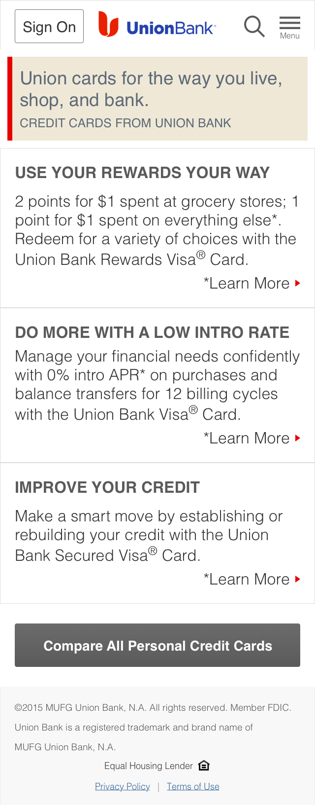 Credit Cards - Landing