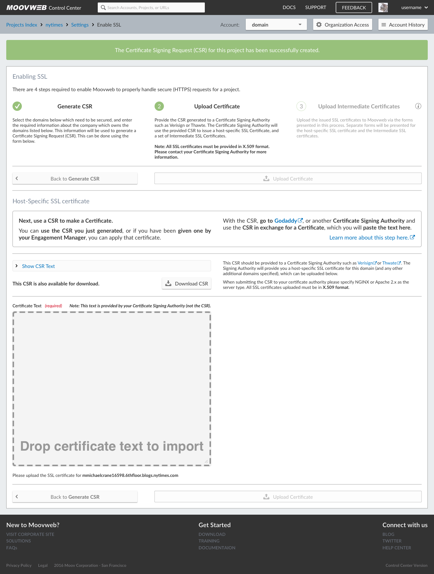Upload Certificate - Hide Text Drag and Drop