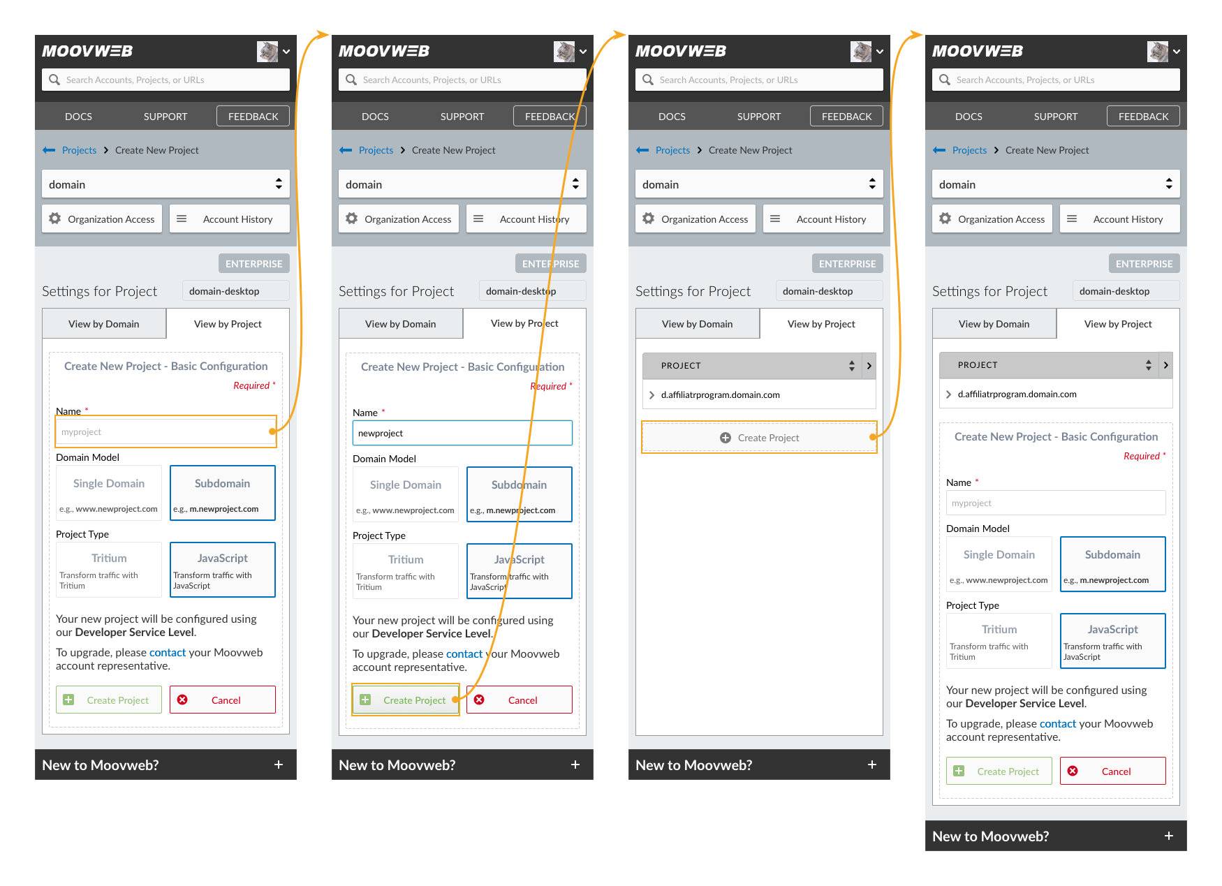Projects Mobile Flow