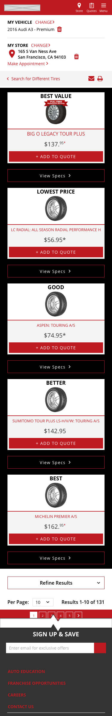 Tire Comparison Vertical Layout