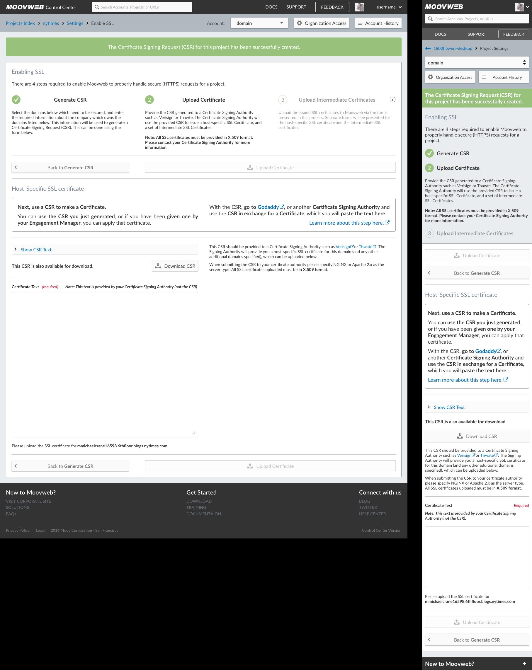 Upload Certificate - Hide Text