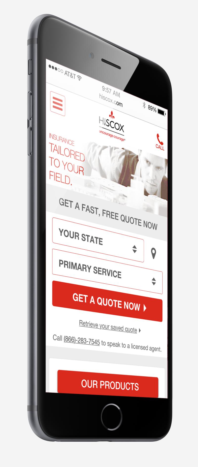 Hiscox Small Business Insurance Landing Page