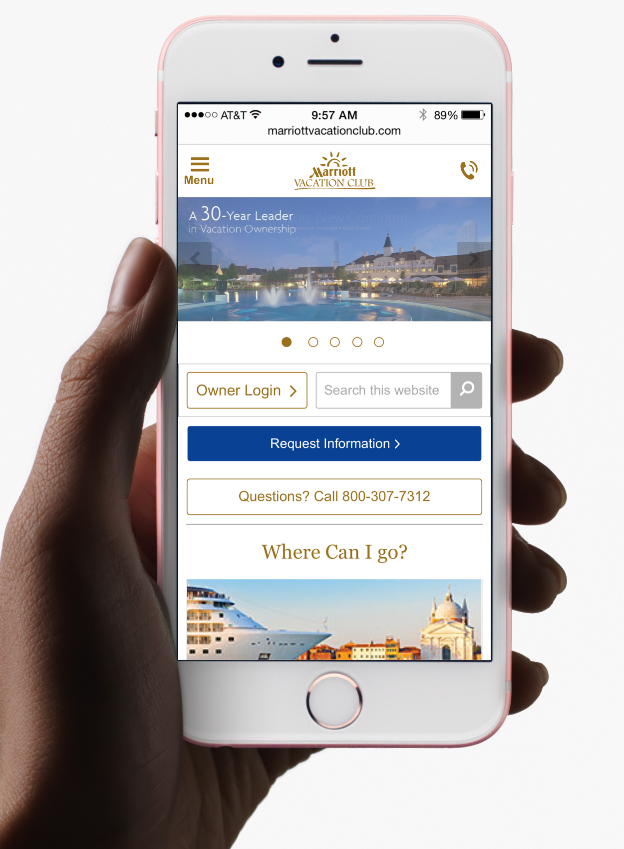 Marriott Vacation Club Inline Search with Carousel