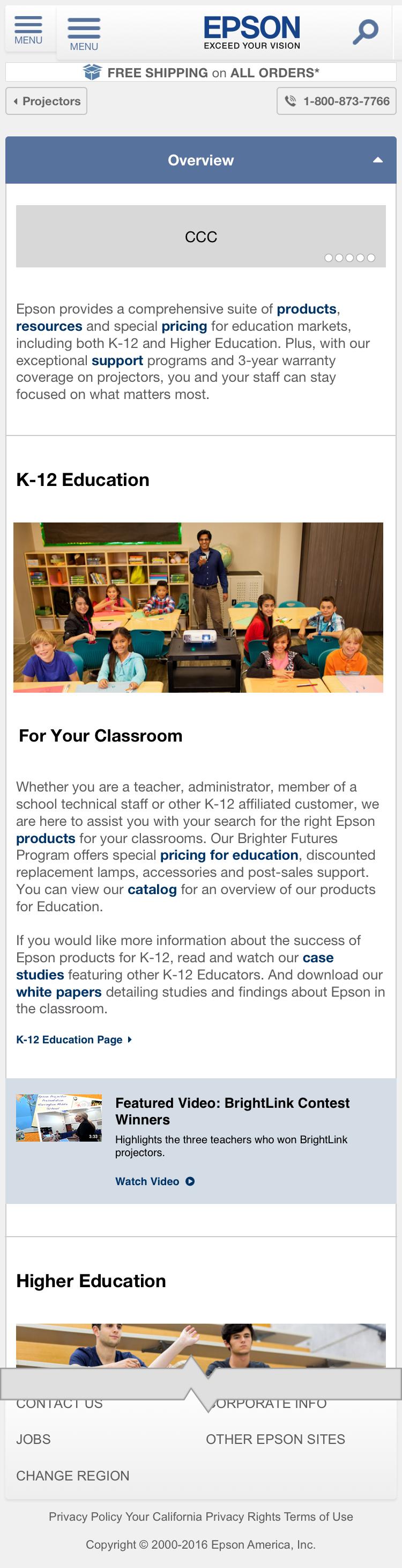 Education Projectors - Overview