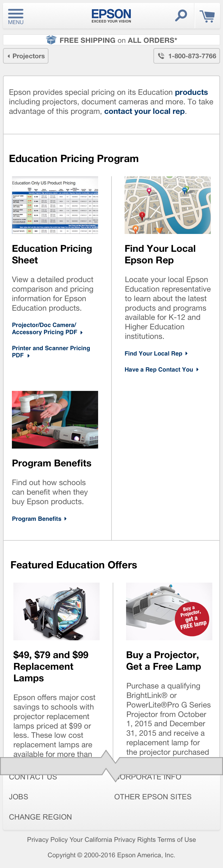 Education Projectors - Education Pricing Program