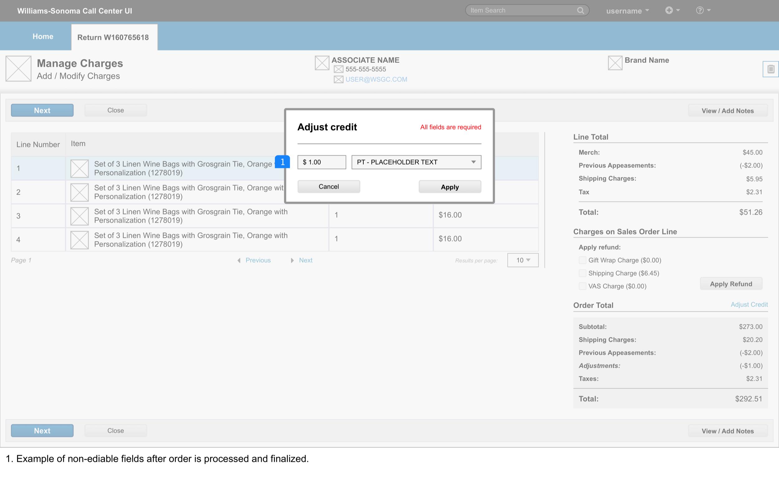 Manage Adjustments > modal non-edit V2