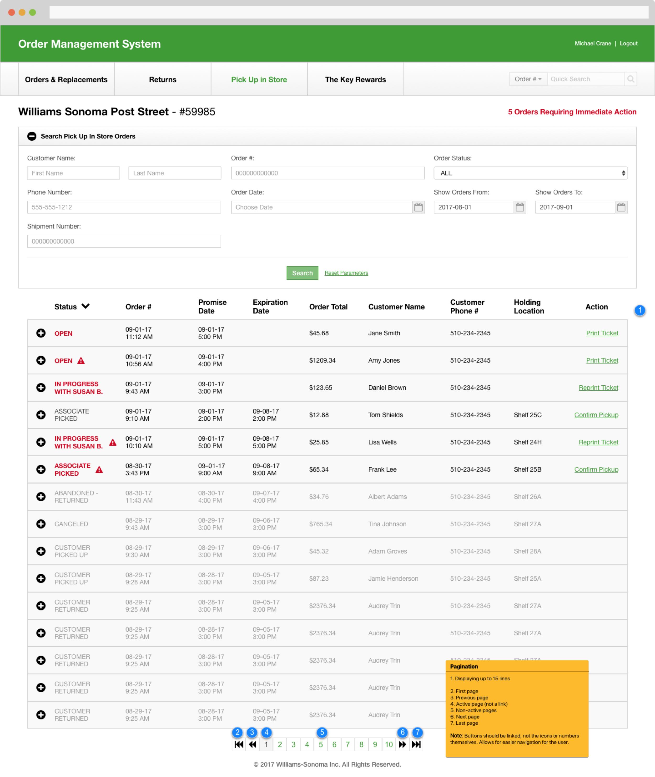 05 BOPIS Order Search Results - Range
