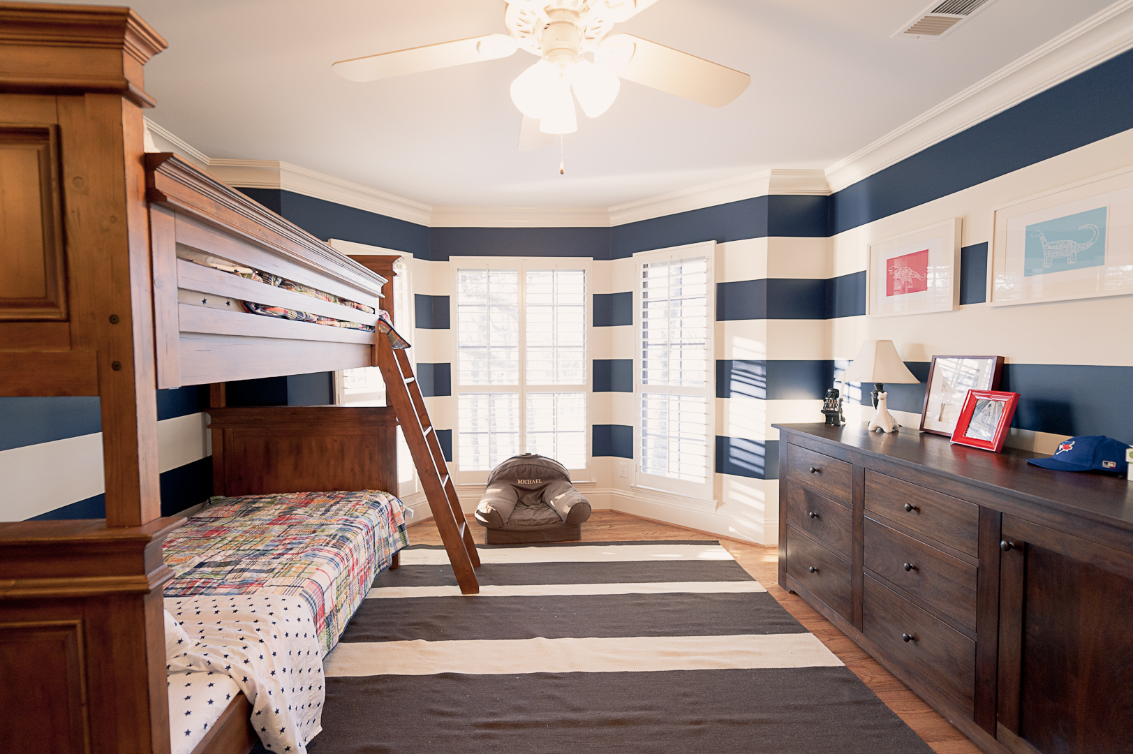 After: I couldn't go for solid navy walls per Michael's request, but I think he likes the compromise of the stripes.