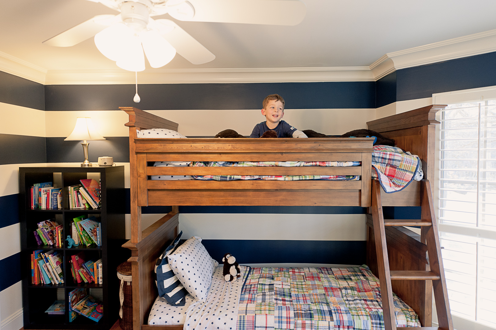 Can't believe he's old enough to sleep on the top bunk!