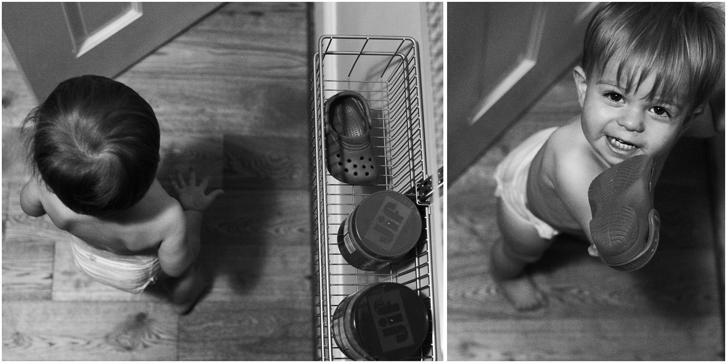 The peanut butter morning snack lead to a naked baby. And me putting away the peanut butter lead to the shoe we couldn't find last night. I invited Henry to come in and see if he could find it, too.