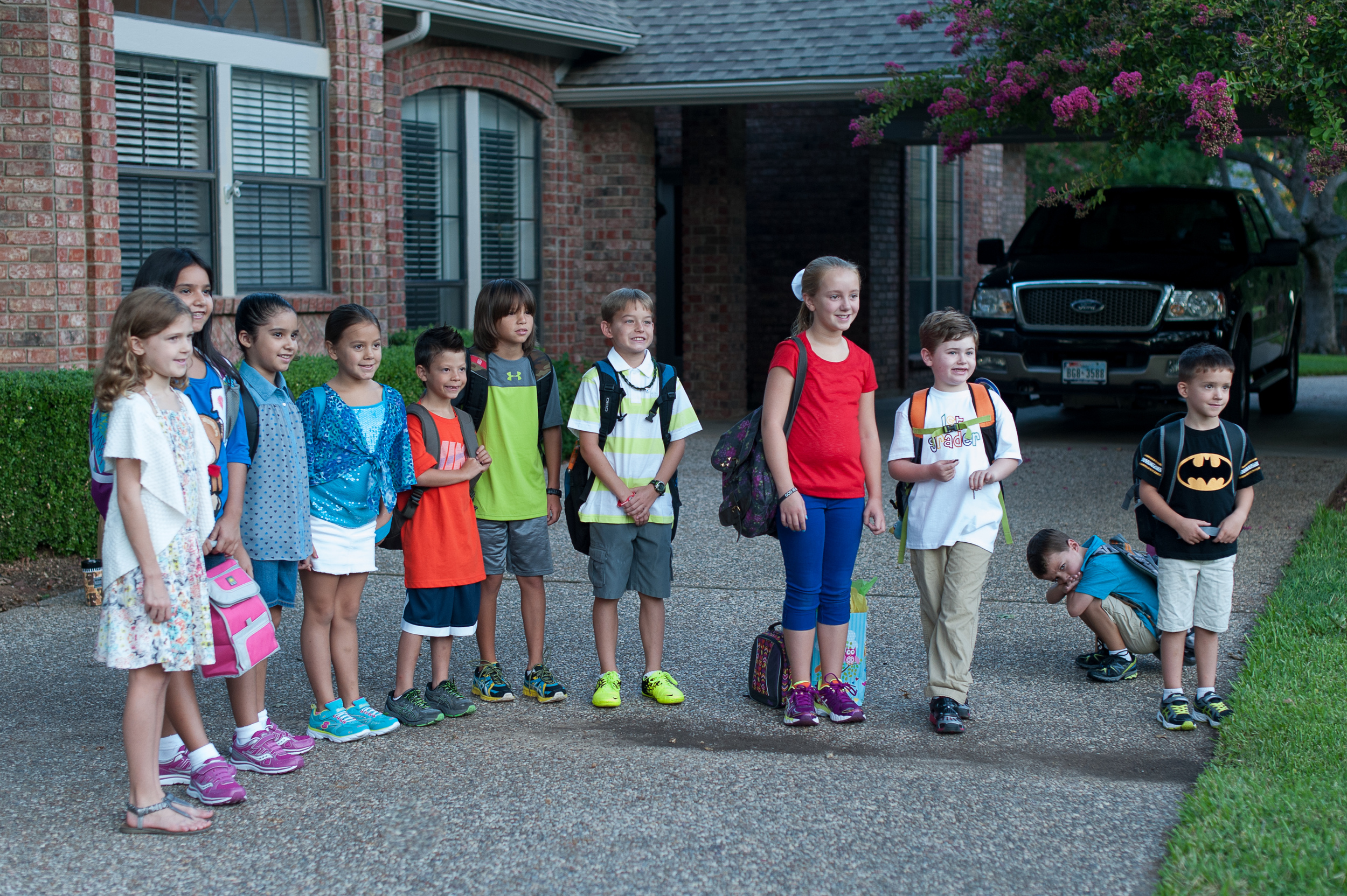 Meeting up with the neighborhood kids to walk to school for the first day.