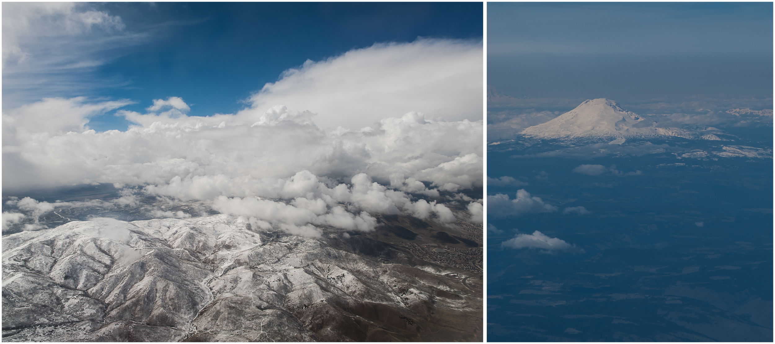 Flying in, we had an extremely brief stop-over in Salt Lake City. The second image is of one of the Three Sisters near Portland -- can't remember which in particular.