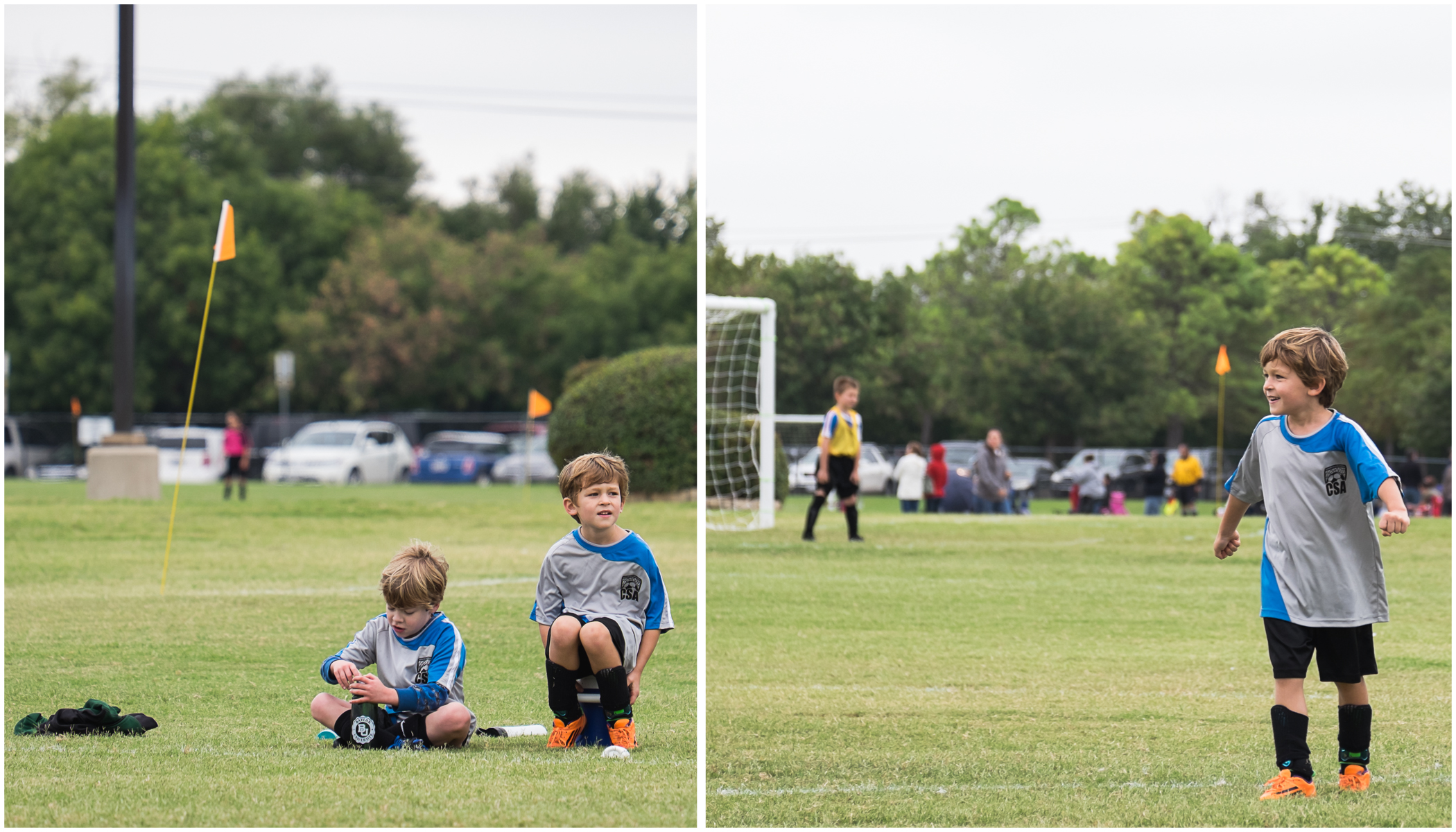 In the morning, we had a soccer game. Due to all of the crazy prep going on at our house -- not just for Michael's birthday but also for a lemonade and cookies fundraiser the kids were doing the next day -- Ella, Henry and I were 15 minutes late to the game. Right when we arrived, Wes told me I missed Michael scoring two goals.  I could have cried.  But then he scored two more. Not that I managed to grab photos of either goal, but I got to be there which is even better.