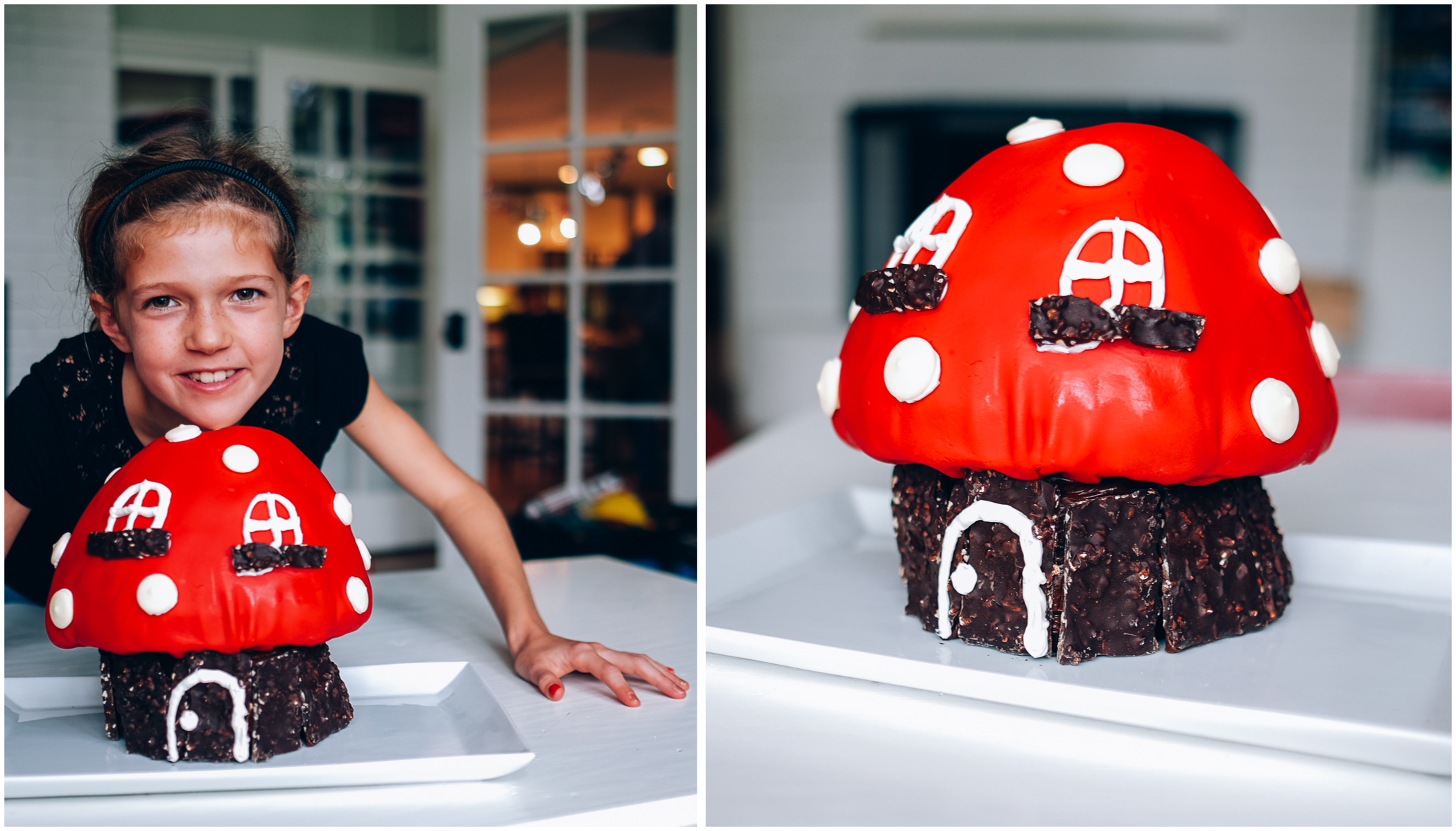 Then back to the house for cake! Before dinner! It was so exciting.  These photos were taken before the four-layer mushroom top began to slowly slide and crush the two-layer mushroom stem. I have much respect for you real cake decorators out there.