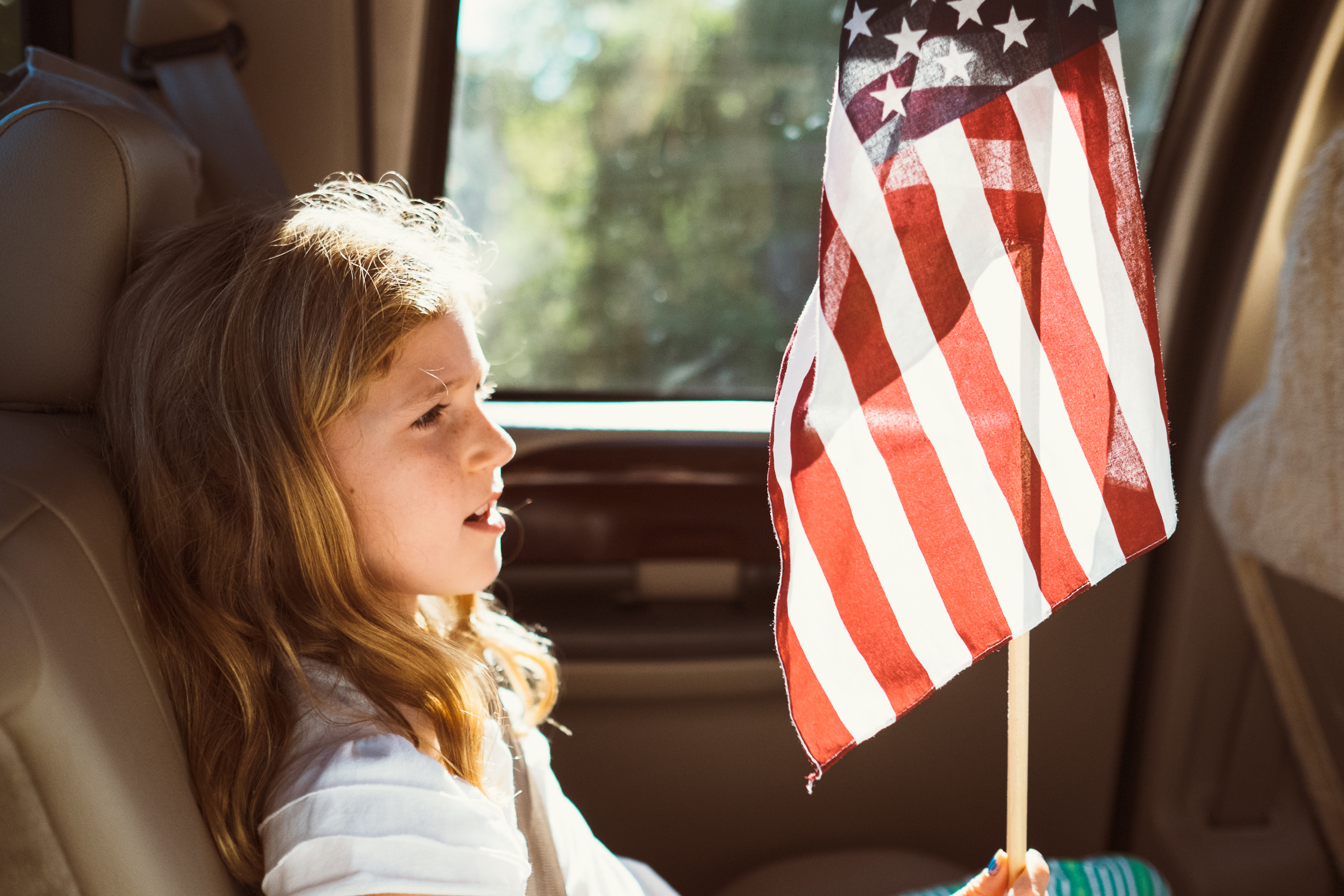 Ella had a small allowance to bargain with and I was very proud that she was careful not to spend it all the first day. This flag was one of the few little treasures that she brought home.