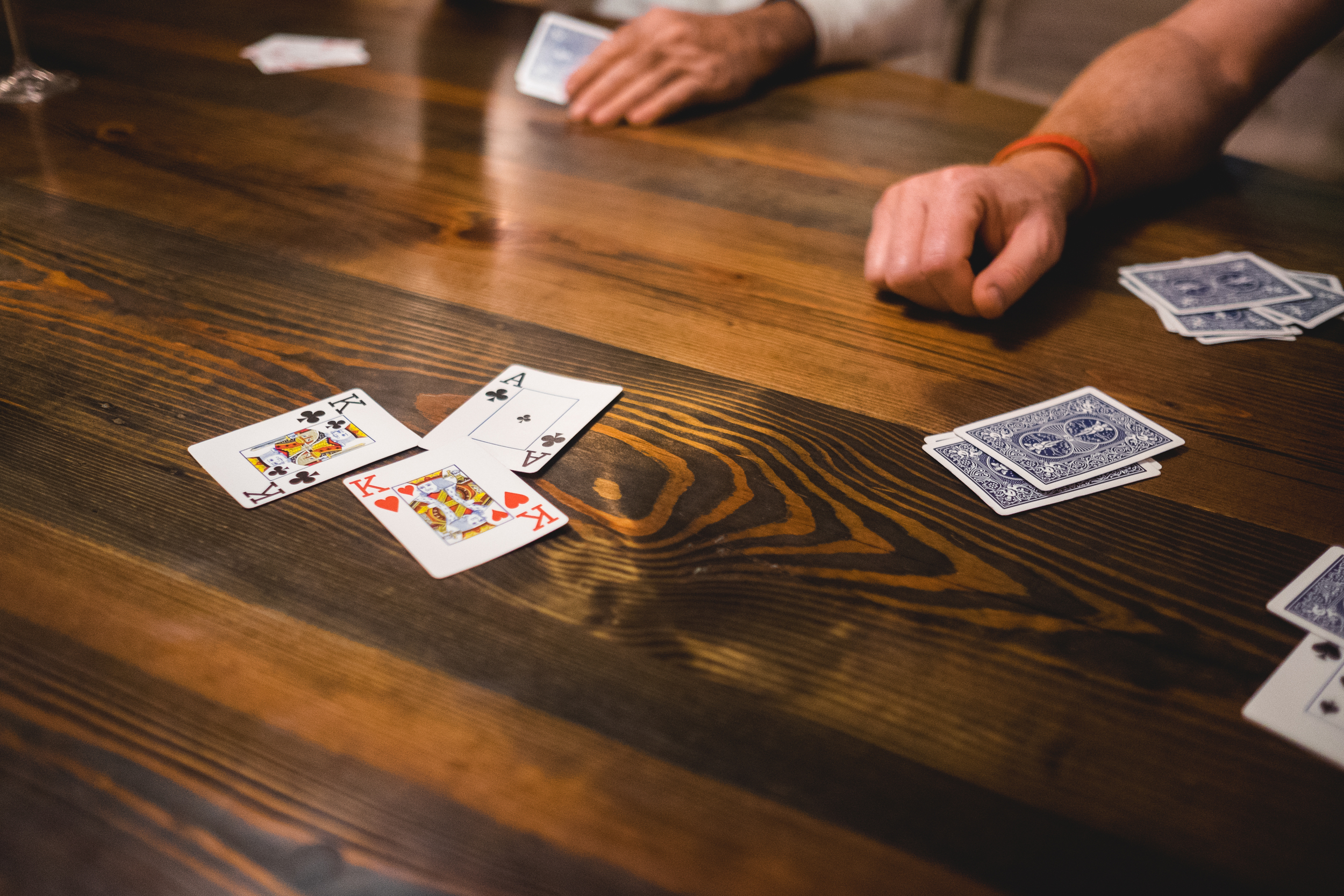 When on vacation, play cards. Lots of them.
