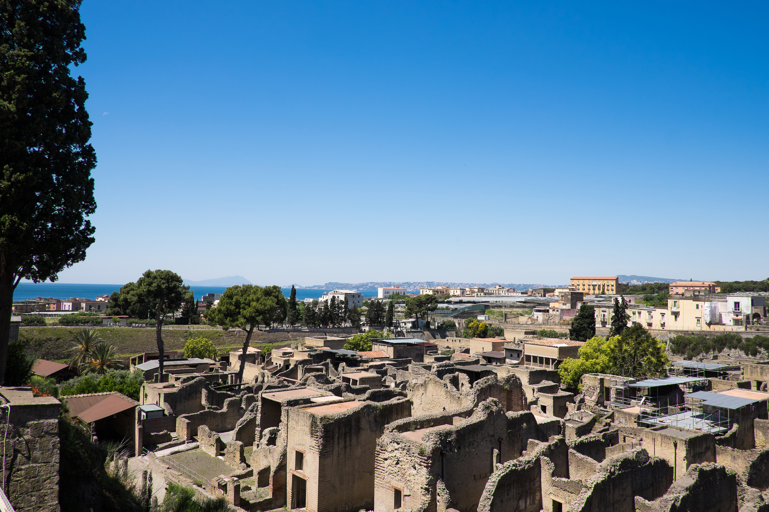 This view looks out to the Bay of Naples, which at the time of Herculaneum's existence, came all the way up to the city itself.