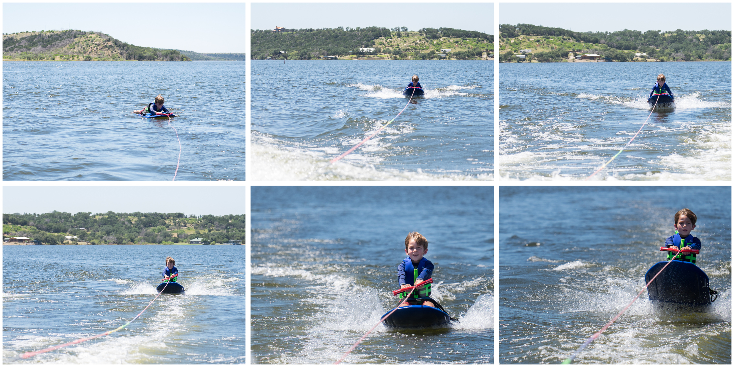 This was Michael's very first attempt at knee boarding.  We told him to be patient, it might take five or six tries before he could get his balance and figure out how to pull himself up.  If only teaching him to read was this easy.  ;)