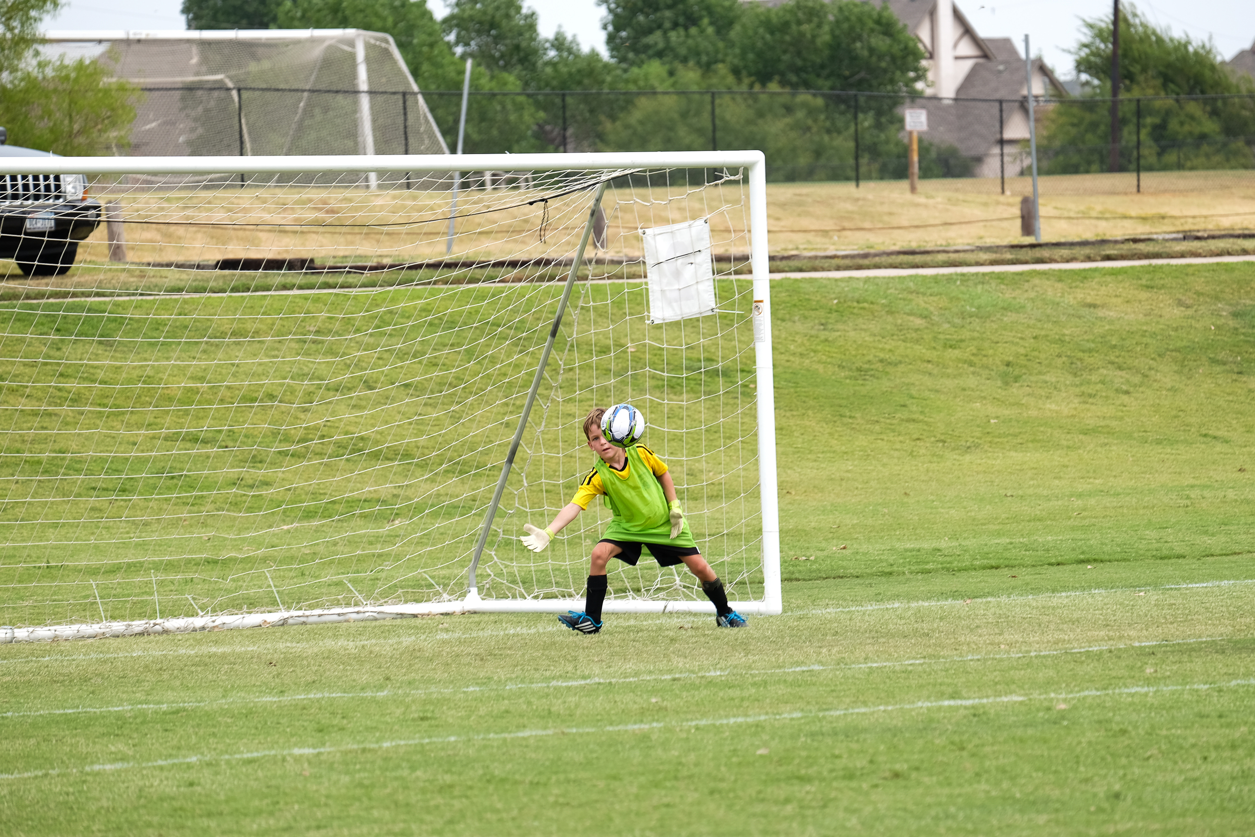 Michael's first time as goalie.