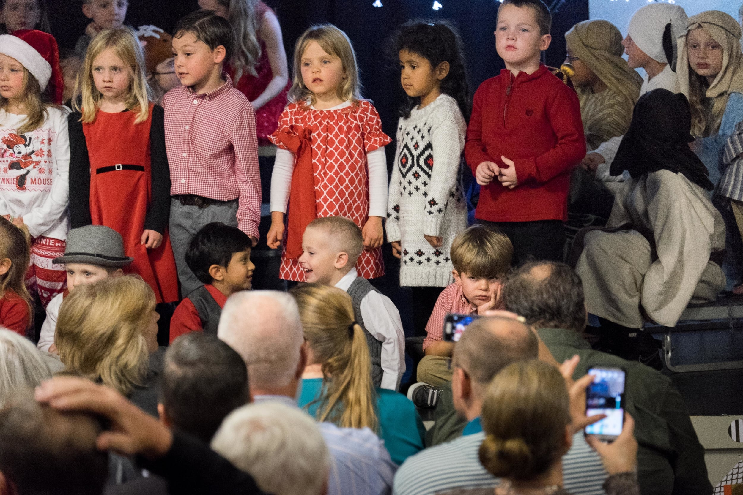 This year, our family members who missed out on attending the Christmas program at Henry's school didn't miss too much. His expression stayed pretty consistently sour throughout the performance.