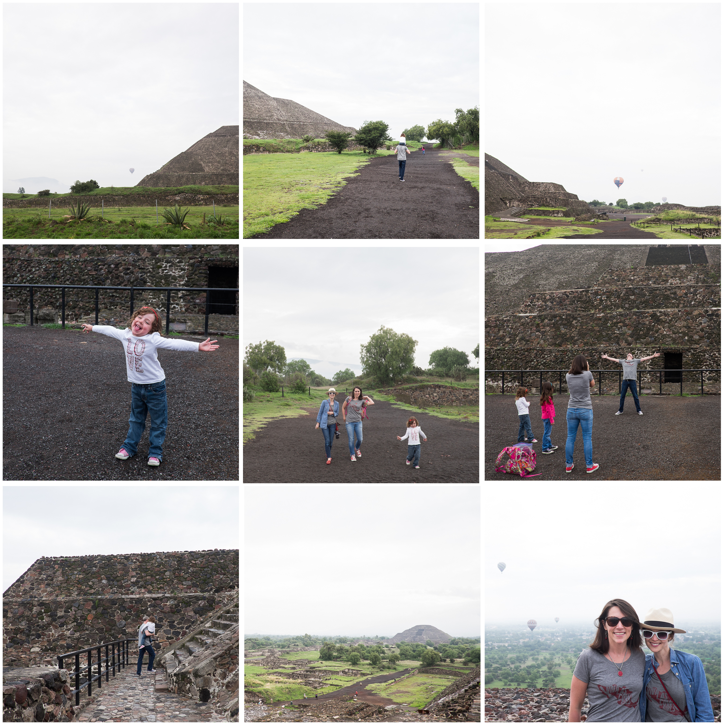 (Early!) Saturday morning we headed to Teotihuacan to visit and climb first the Pyramid of the Sun, and then the Pyramid of the Moon.  The Aztecs began construction on these pyramids and nearby temples in 100 C.E. Beating the crowds, we had the top of the first pyramid all to ourselves, surrounded by hot air balloons that launch early in the day.  It was absolutely a bucket list kind of morning.