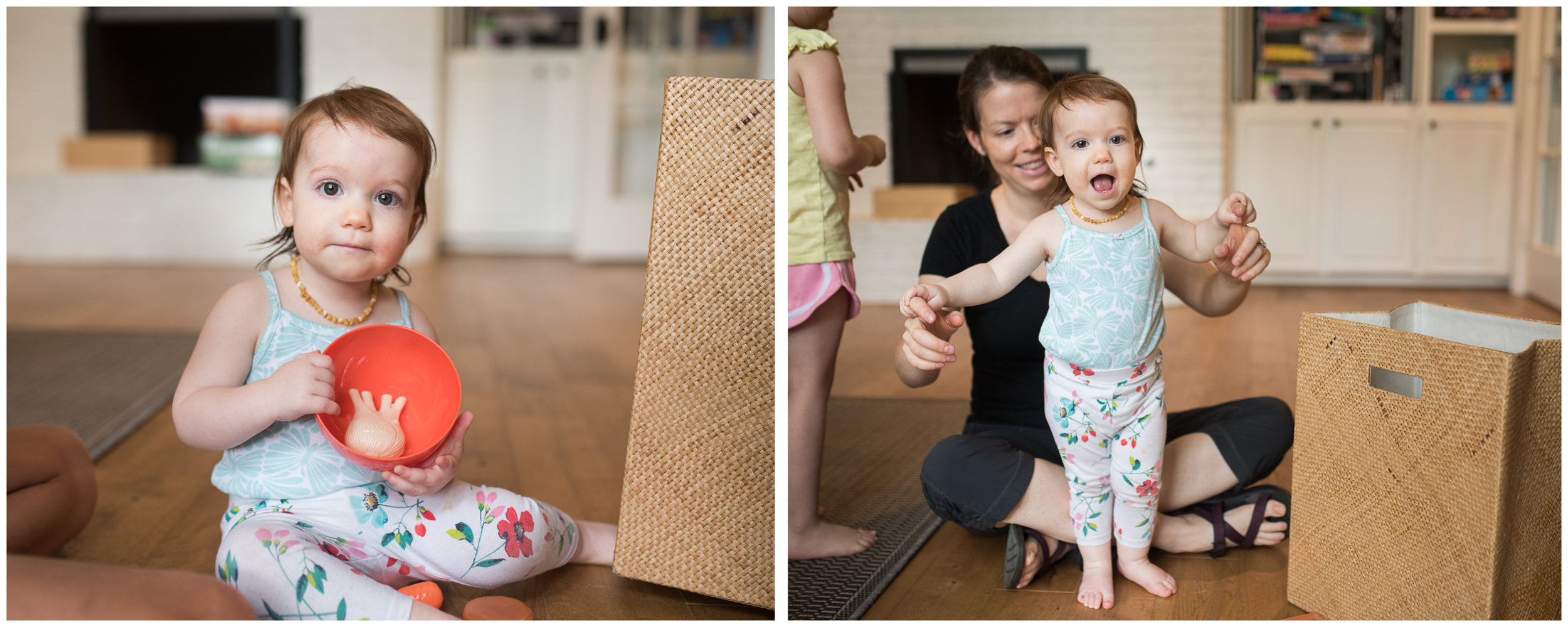We had a visit from this little cutie (and her big sister and mama) who is just about ready to start running laps.