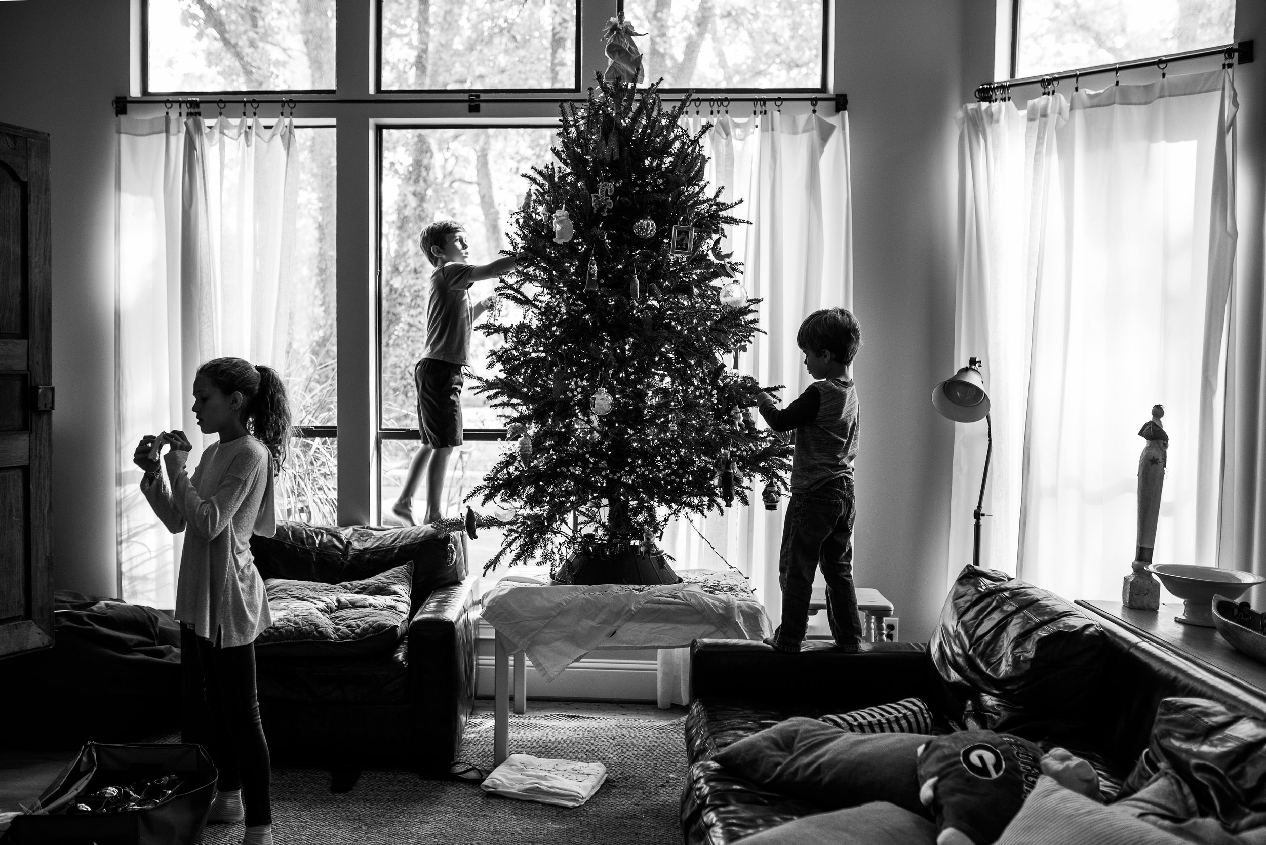 Back home, it was time to set up the Christmas tree!  Those who know me, know what a complete Christmas Dork I can be. I'm training these three to follow in my footsteps.