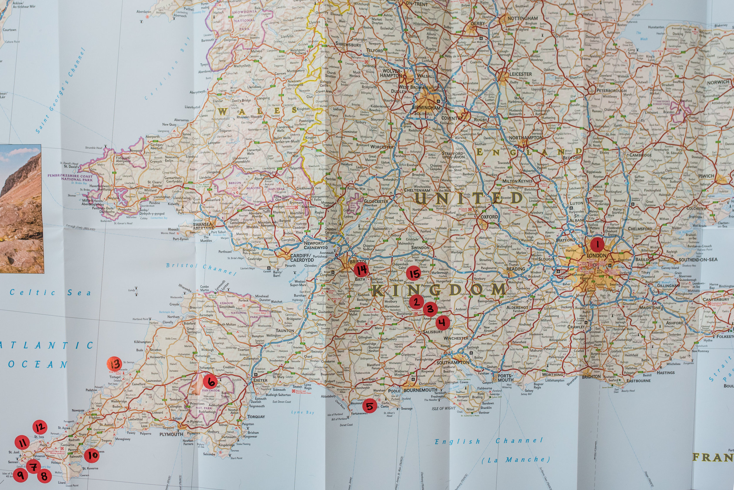 This map is an overview of our major stops. Basically, we started in London, meandered out to the furthest West coast and then meandered back to London to fly home.