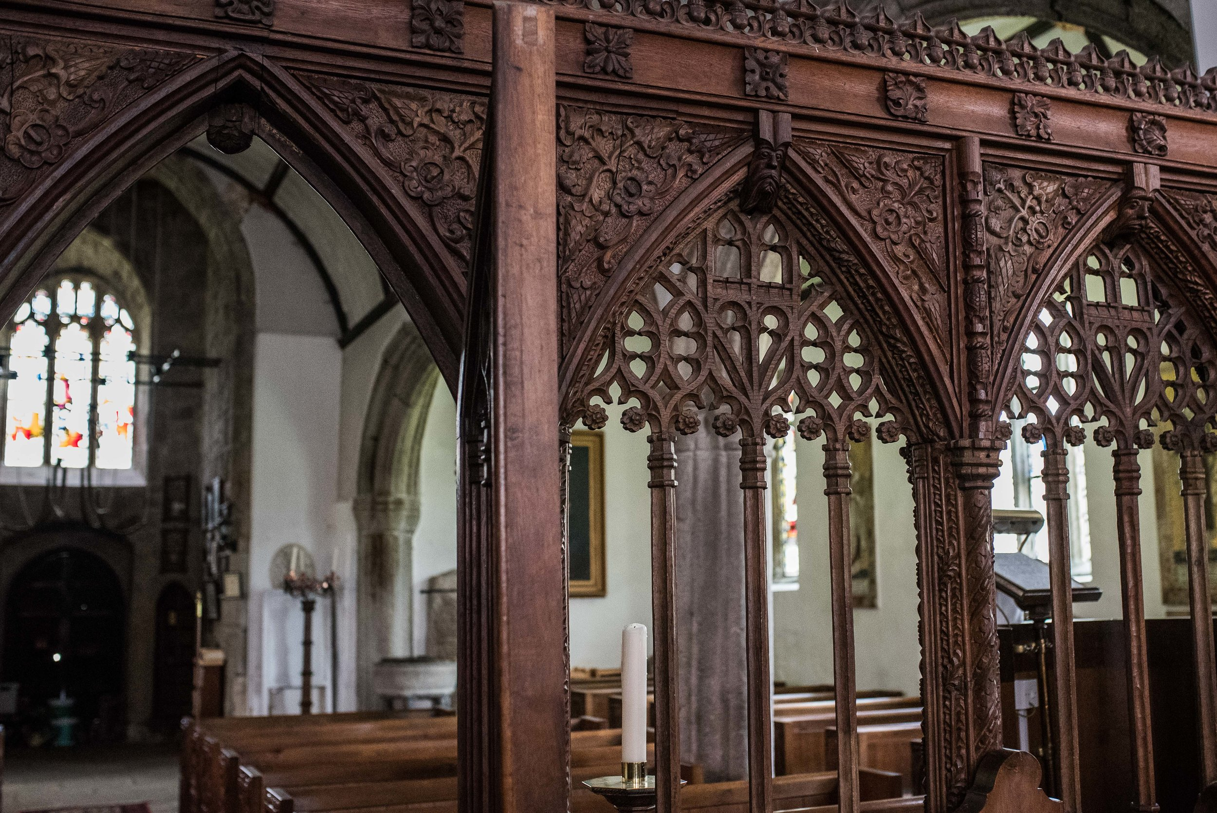 All of the detail and columns inside each arch was hand-carved from a single block of wood.
