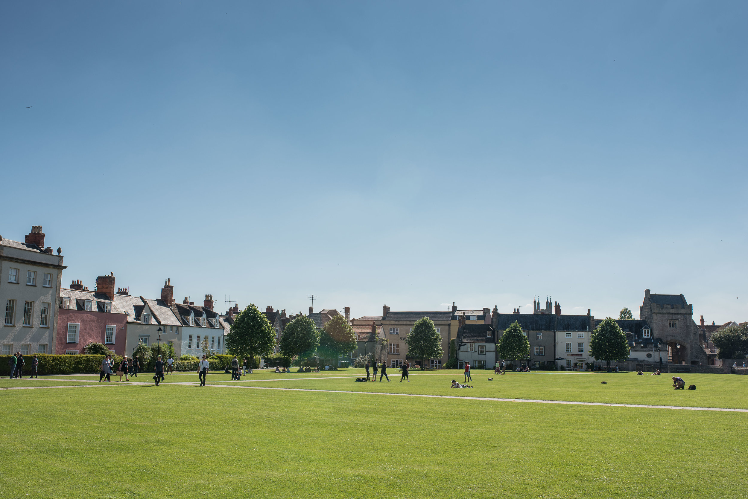 What I would call a quad, surrounding the cathedral. It was a popular spot for kids just out of school that afternoon.