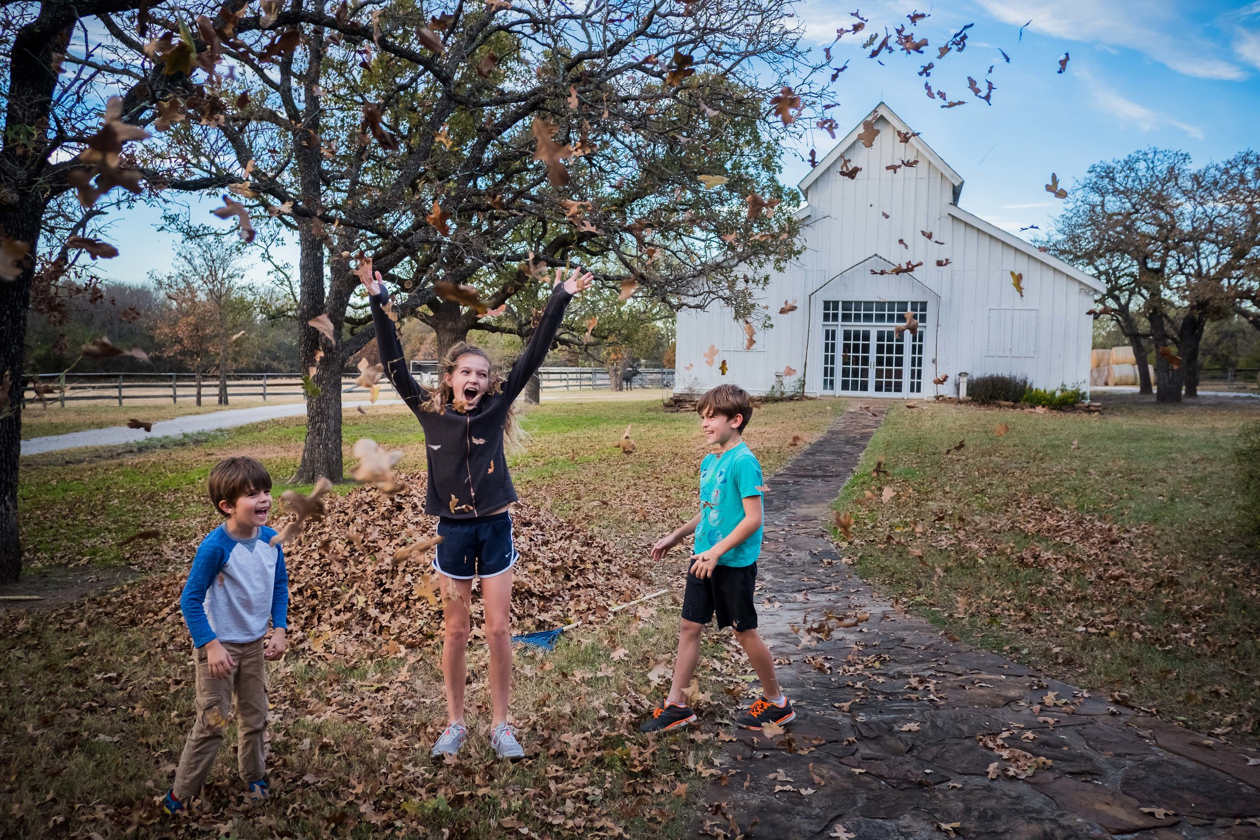They're young enough to think raking is fun. Well, it probably is when you get to jump in them and throw them in the air instead of stuffing them into lawn bags.
