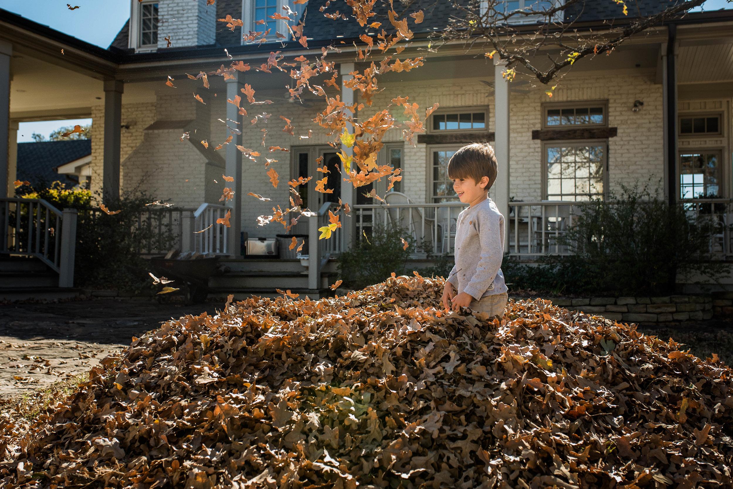 The leaf pile got bigger!