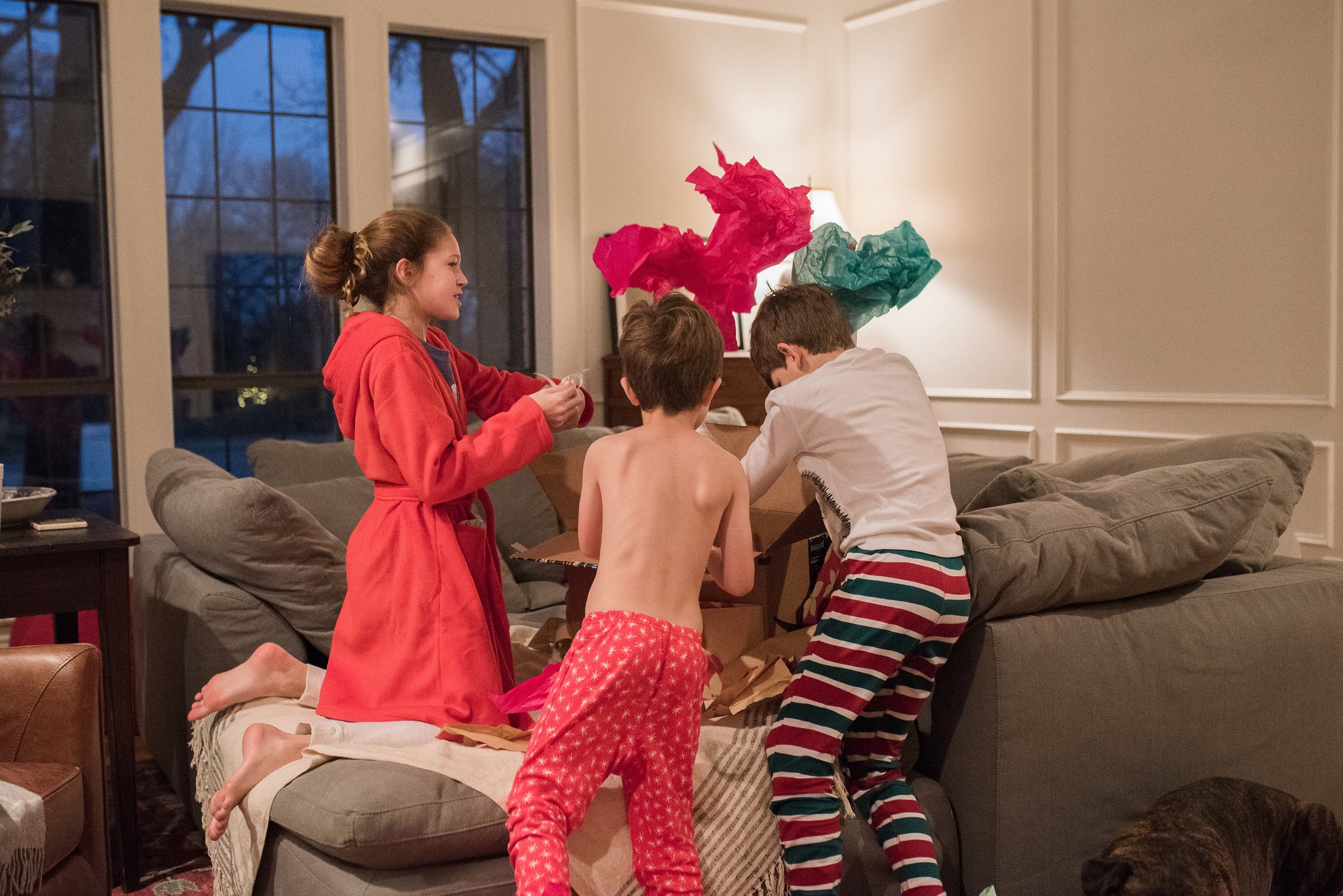 After exploring the stockings that Santa stuffed, the kids got to open one joint present. Which led to a bit of a scavenger hunt.